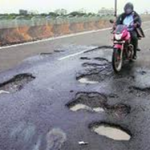 Driving around potholes